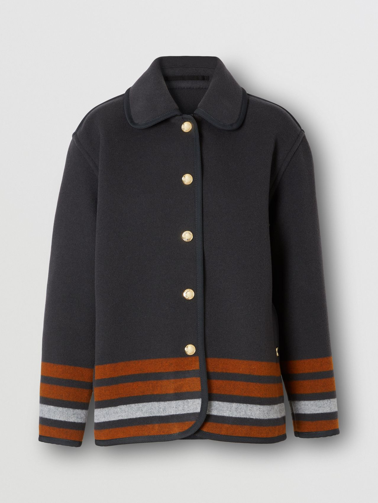 Striped Wool Jacket in Mid Grey