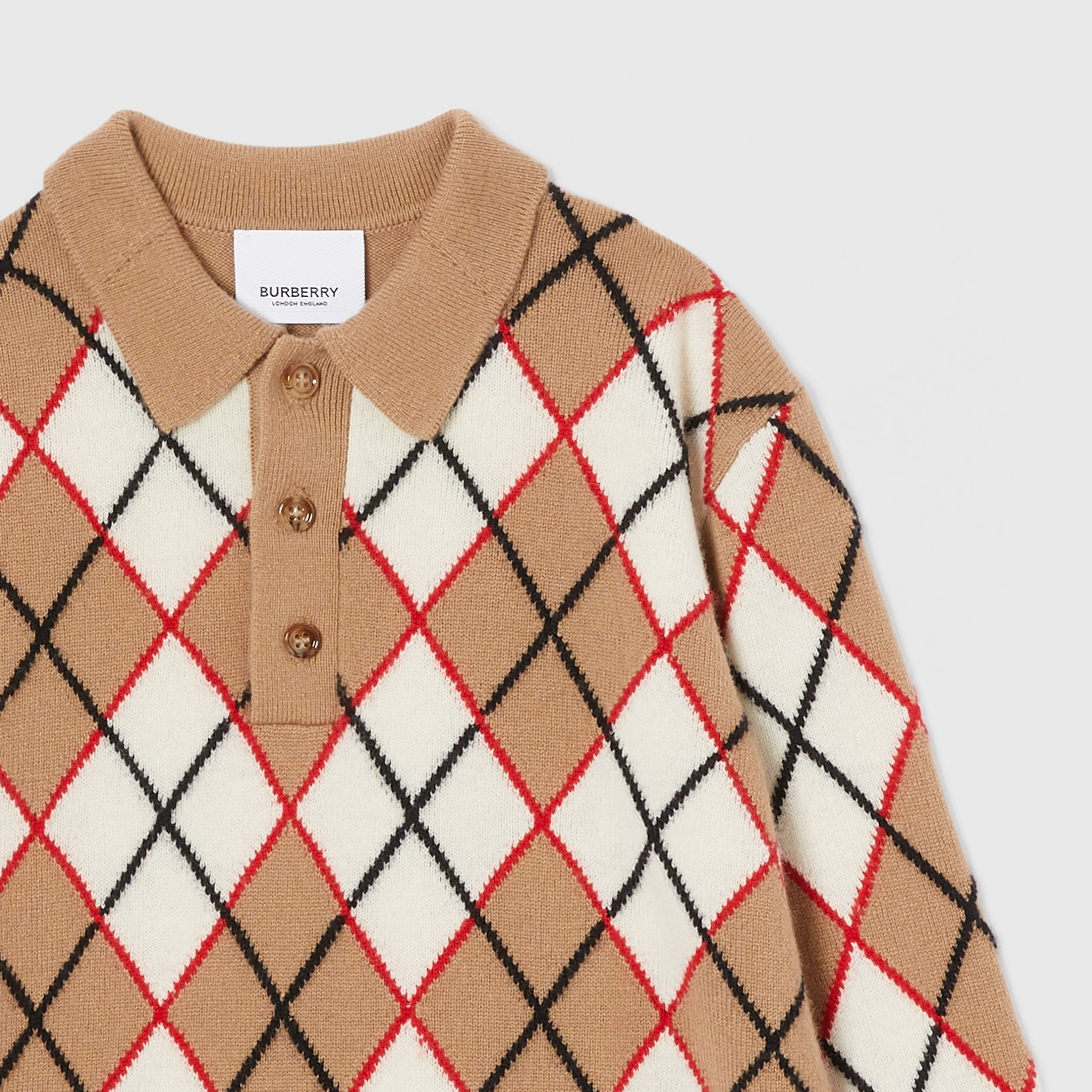 Long-sleeve Argyle Intarsia Wool Cashmere Polo Shirt in Camel | Burberry - 4