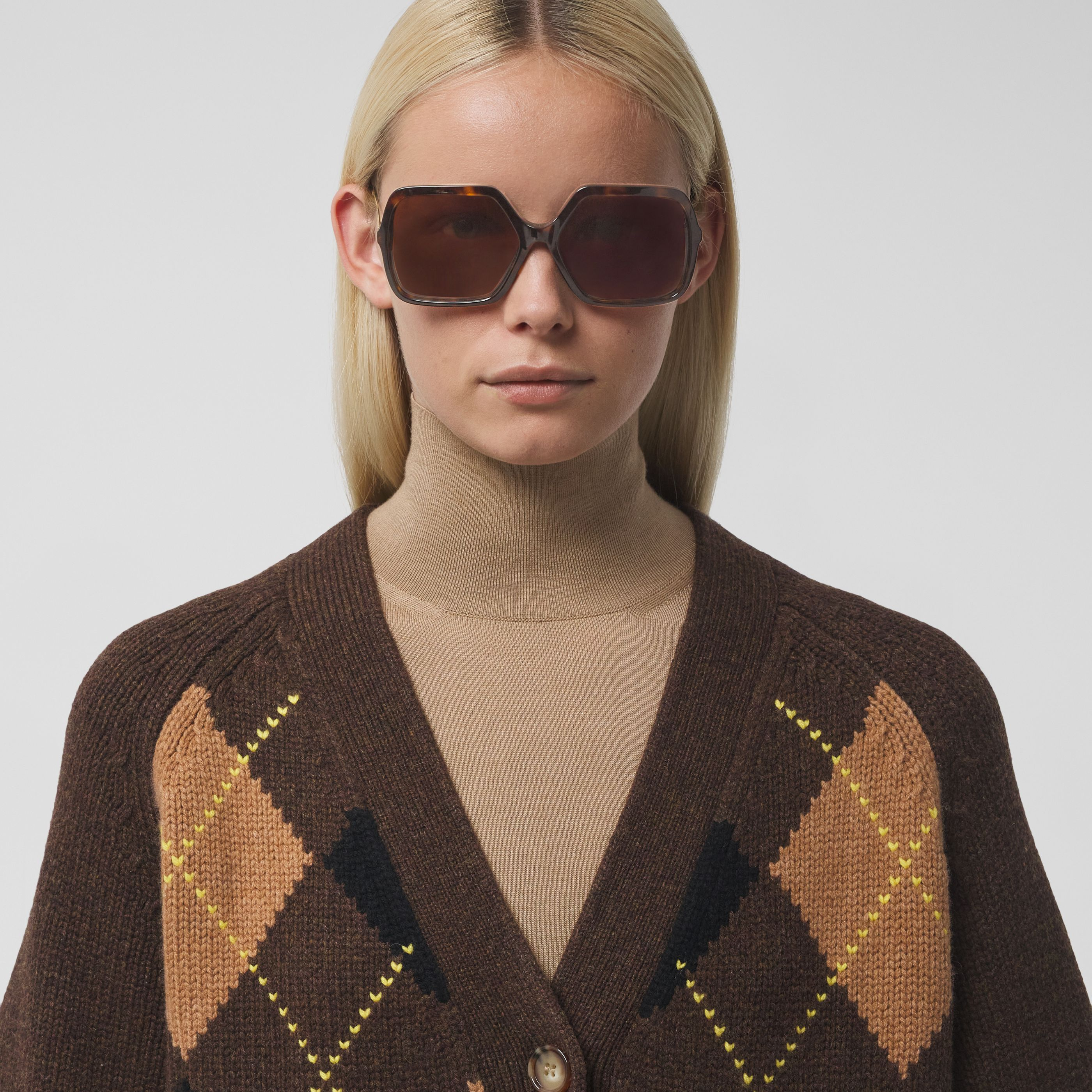 Occhiali da sole oversize con montatura squadrata (Tartarugato) - Donna   Burberry - 3