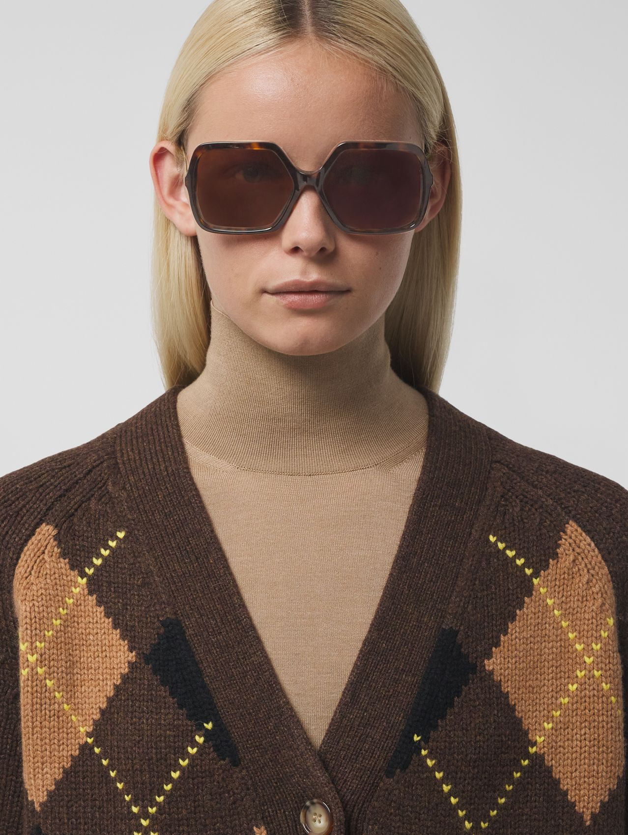 Oversized Square Frame Sunglasses in Tortoiseshell