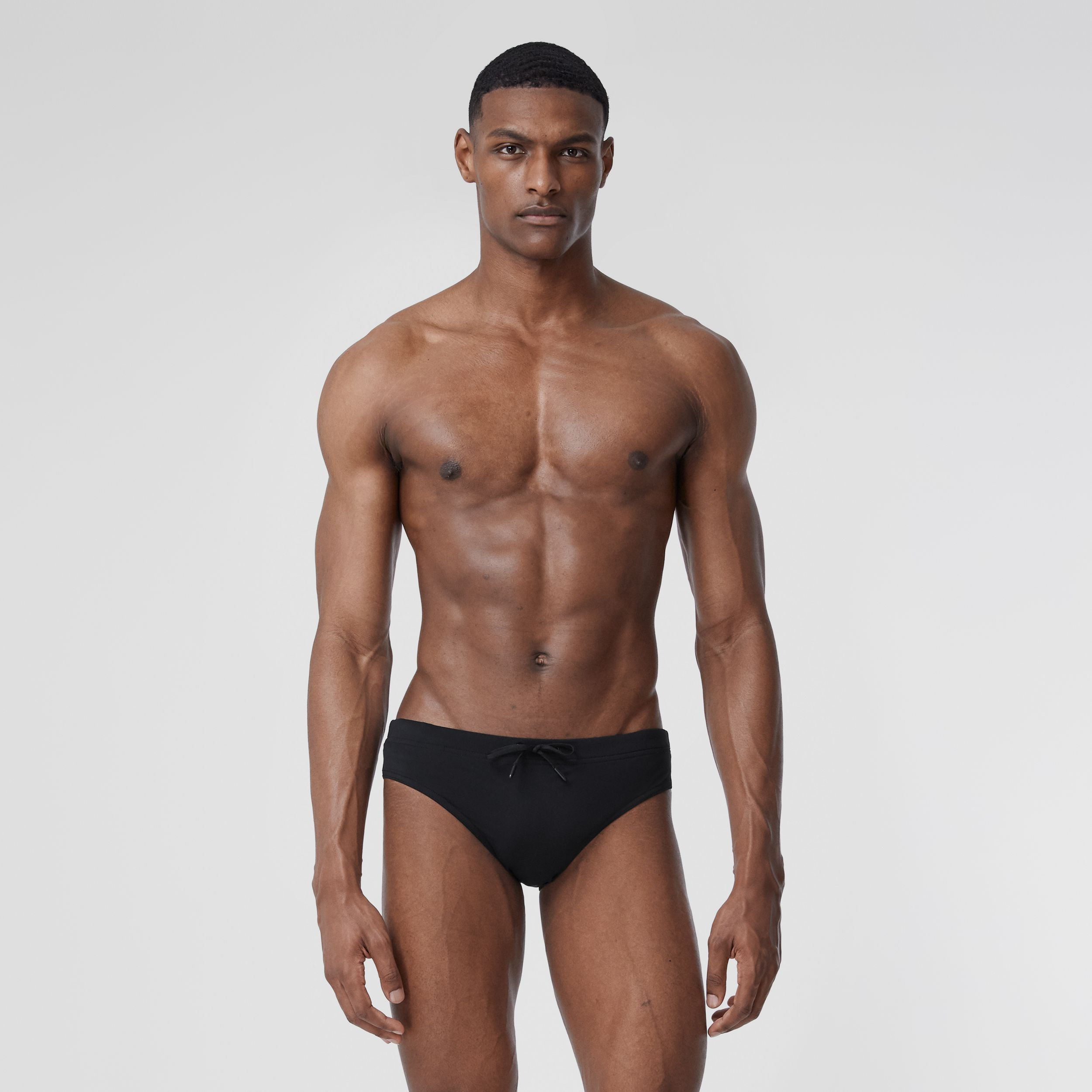 Monogram Motif Drawcord Swim Briefs in Black - Men | Burberry Canada - 2