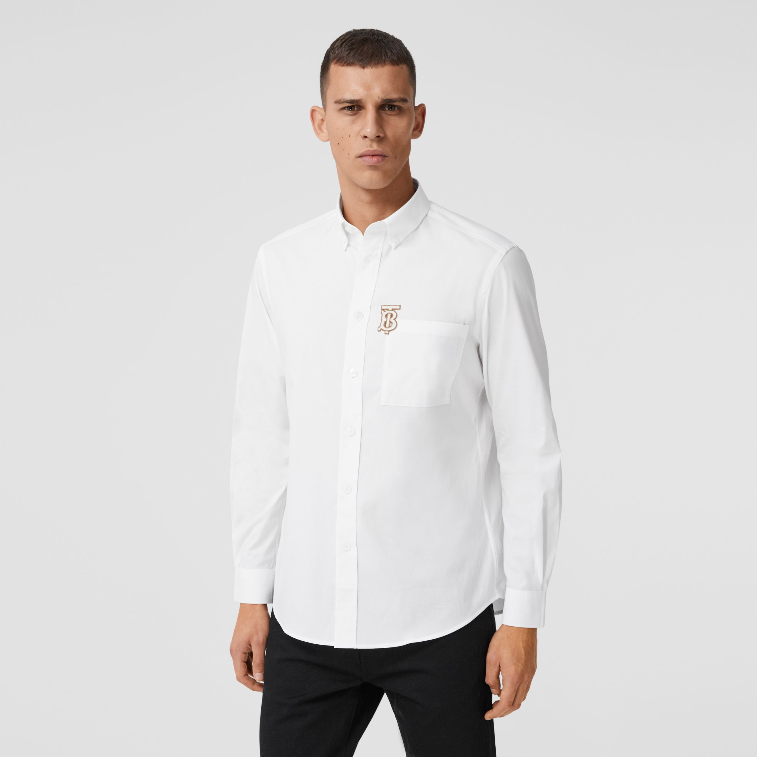 Monogram Motif Stretch Cotton Poplin Shirt in White - Men | Burberry - 1