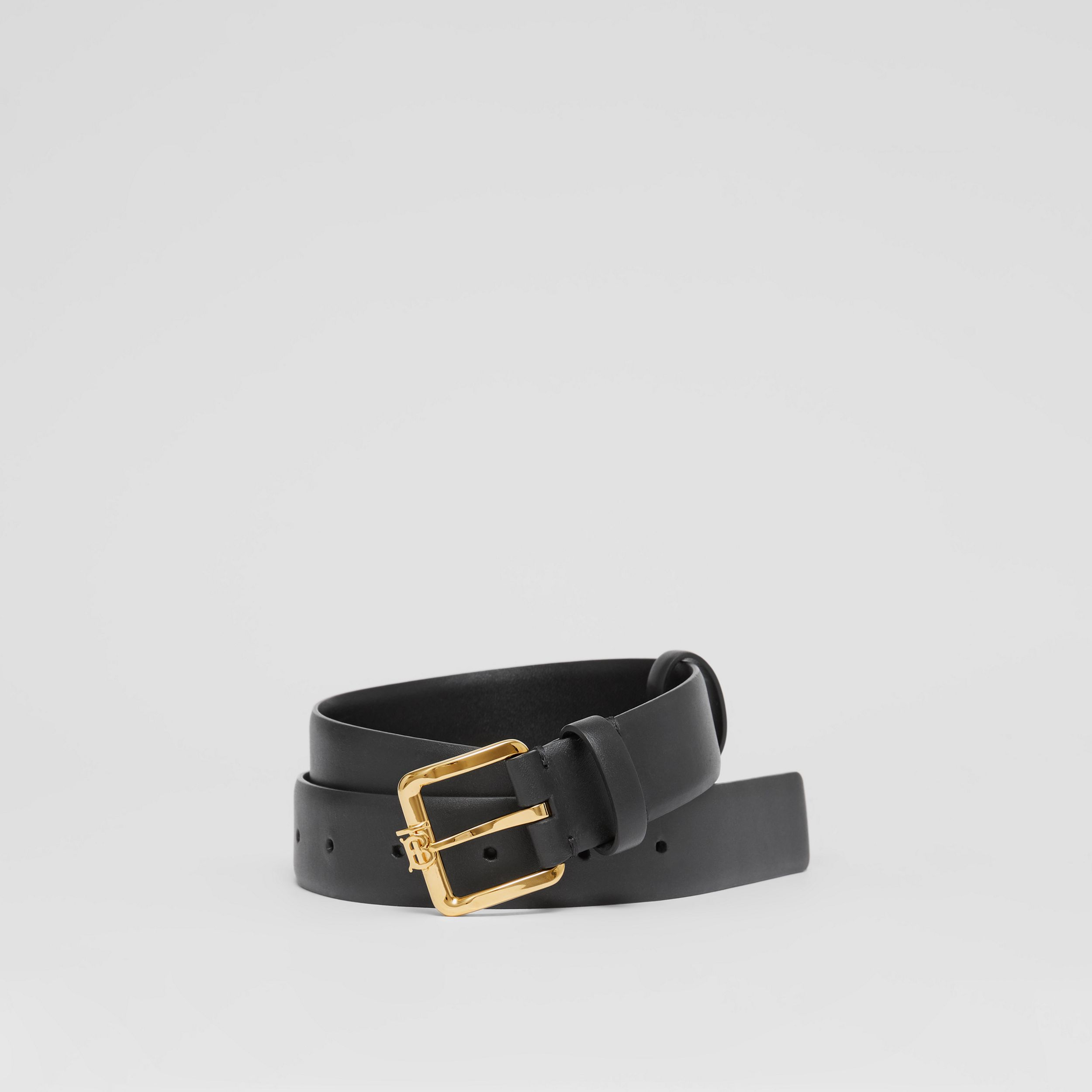 Monogram Motif Leather Belt in Black - Women | Burberry - 1