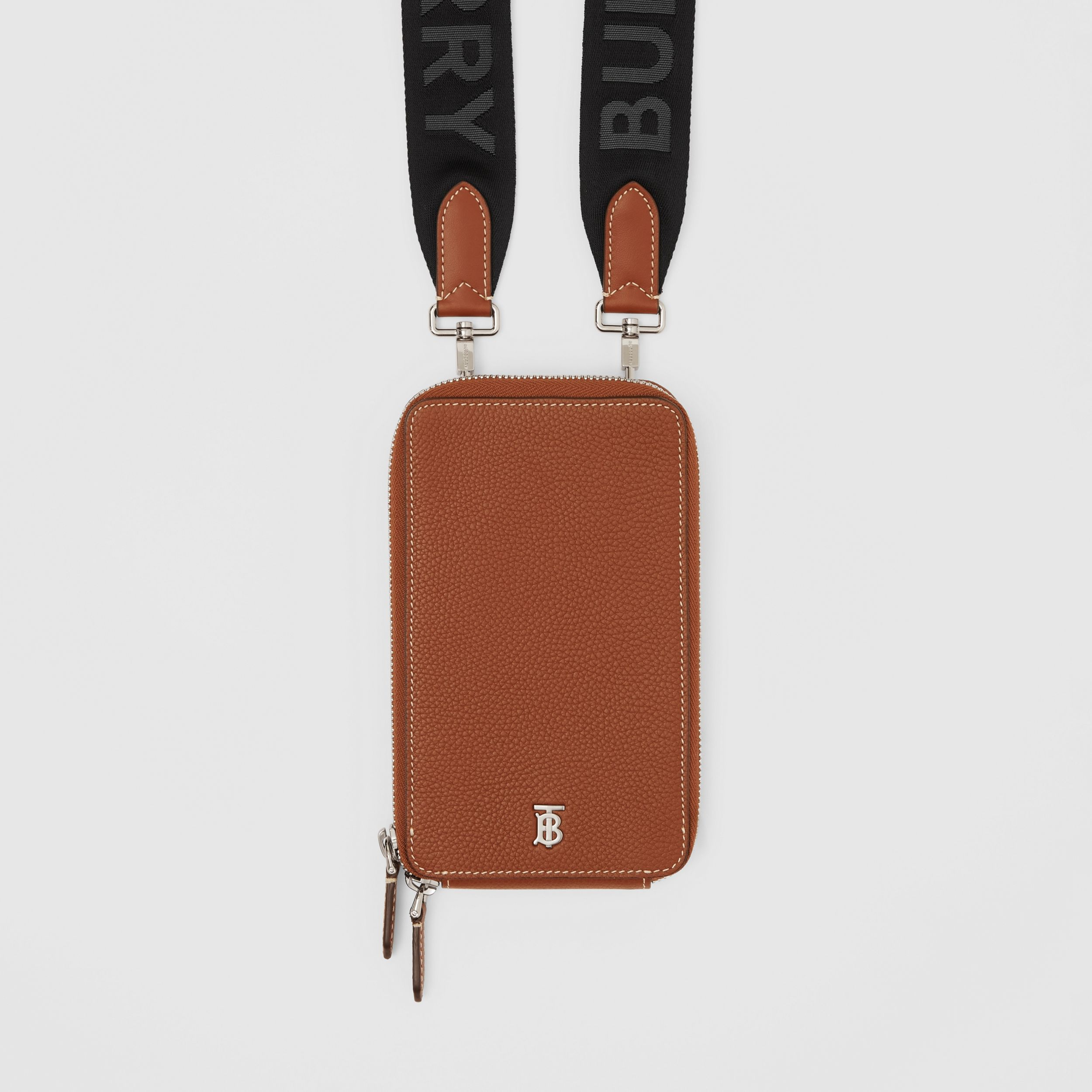 Grainy Leather Phone Case with Detachable Strap in Tan - Men | Burberry - 2