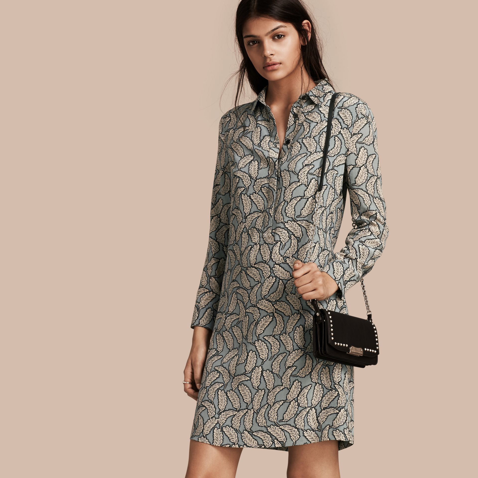 Stone blue Leaf Print Silk Shirt Dress - gallery image 1