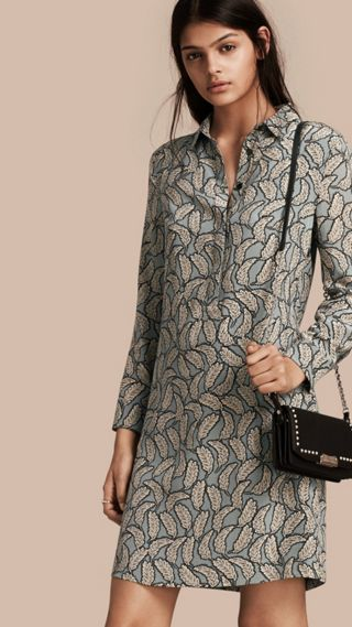 Leaf Print Silk Shirt Dress