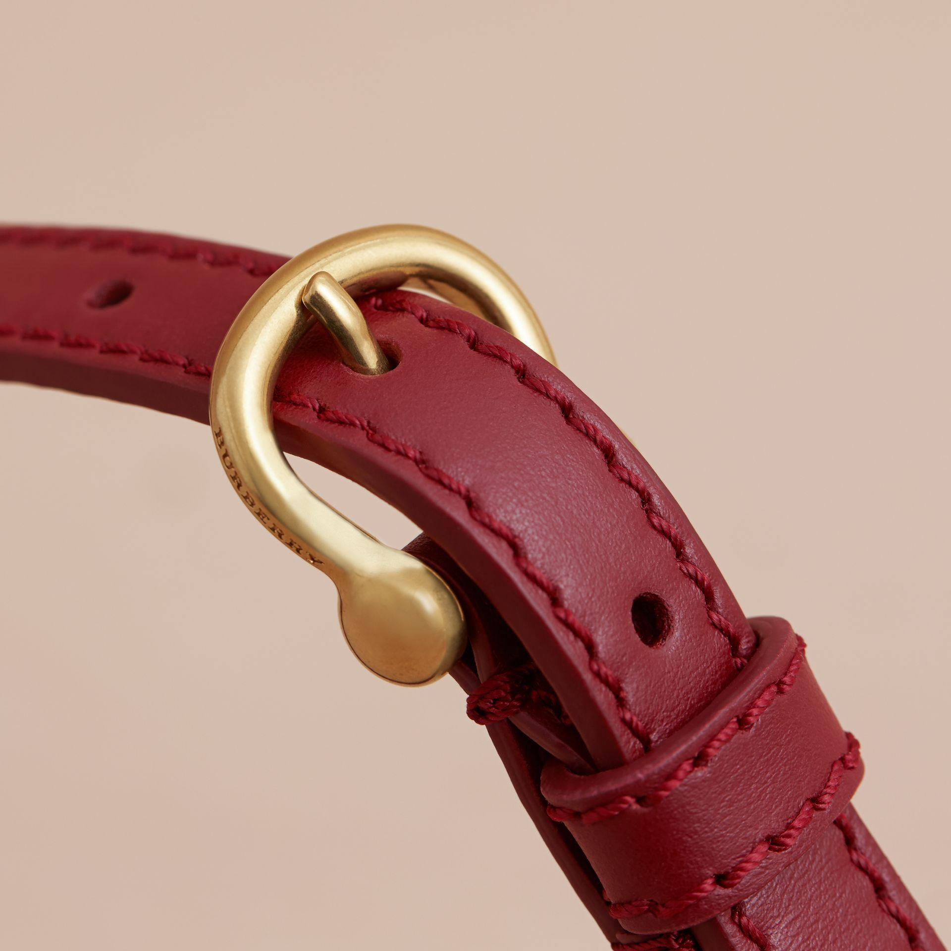 Two-tone Trench Leather Belt Blossom Pink/ Antique Red - gallery image 2