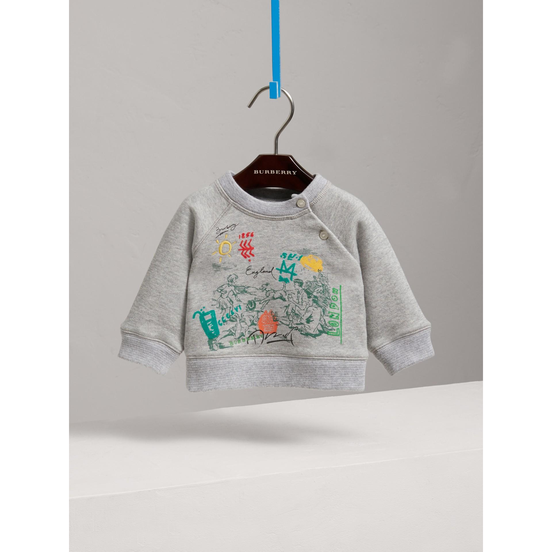 Felpa in jersey di cotone con motivo avventura (Grigio Mélange) - Bambino | Burberry - immagine della galleria 0