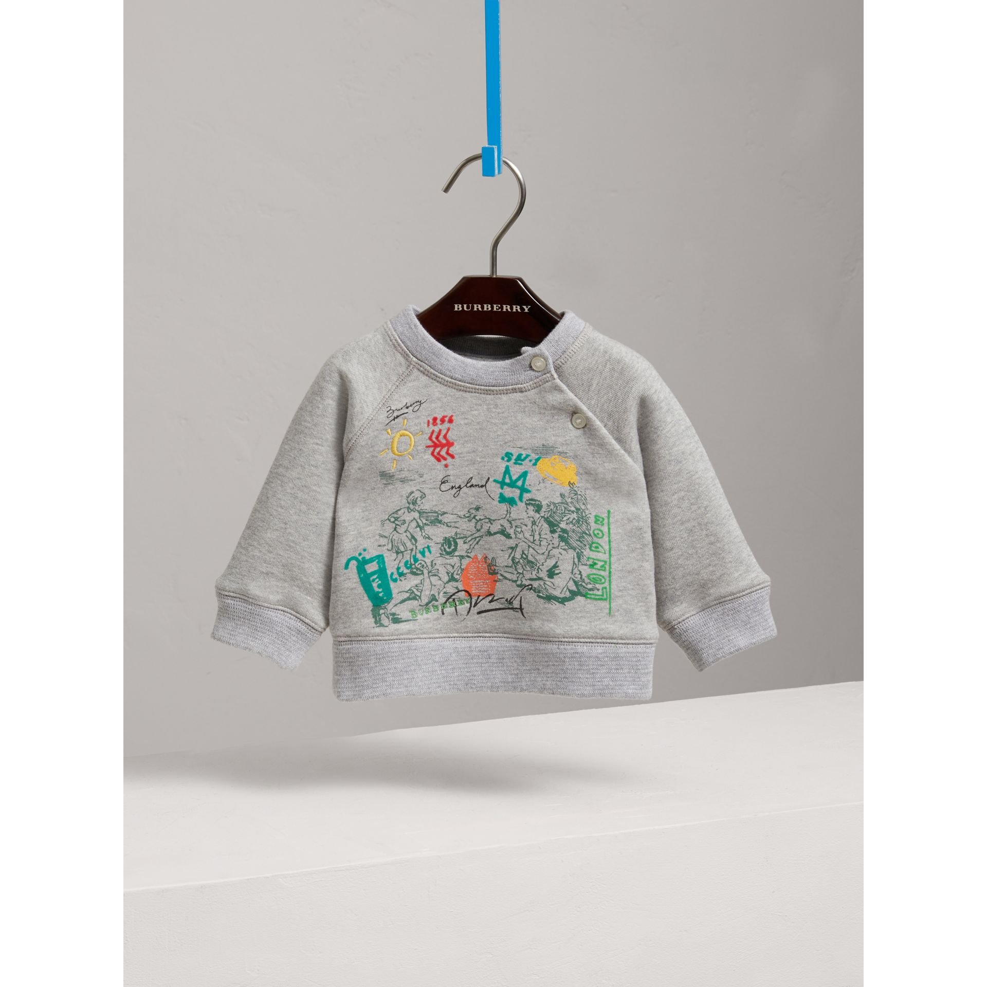 Adventure Motif Cotton Jersey Sweatshirt in Grey Melange | Burberry Singapore - gallery image 0