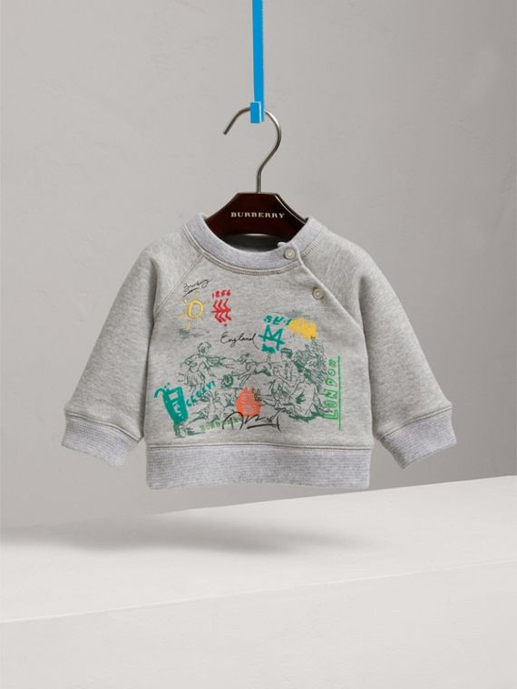 Adventure Motif Cotton Jersey Sweatshirt in Grey Melange