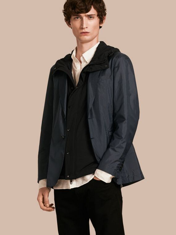 Technical Silk Jacket with Detachable Hooded Warmer