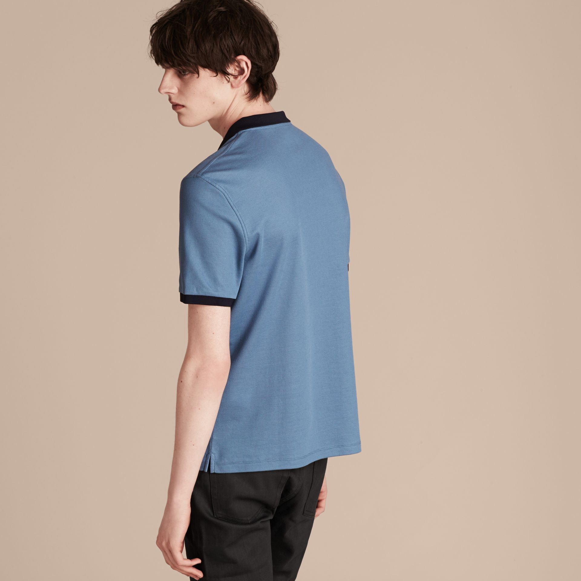 Pale cornflower blue/bright navy Mercerised Cotton Piqué Polo Shirt Pale Cornflower Blue/bright Navy - gallery image 1