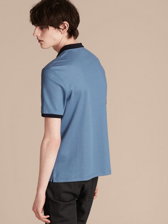 Mercerised Cotton Piqué Polo Shirt Pale Cornflower Blue/bright Navy