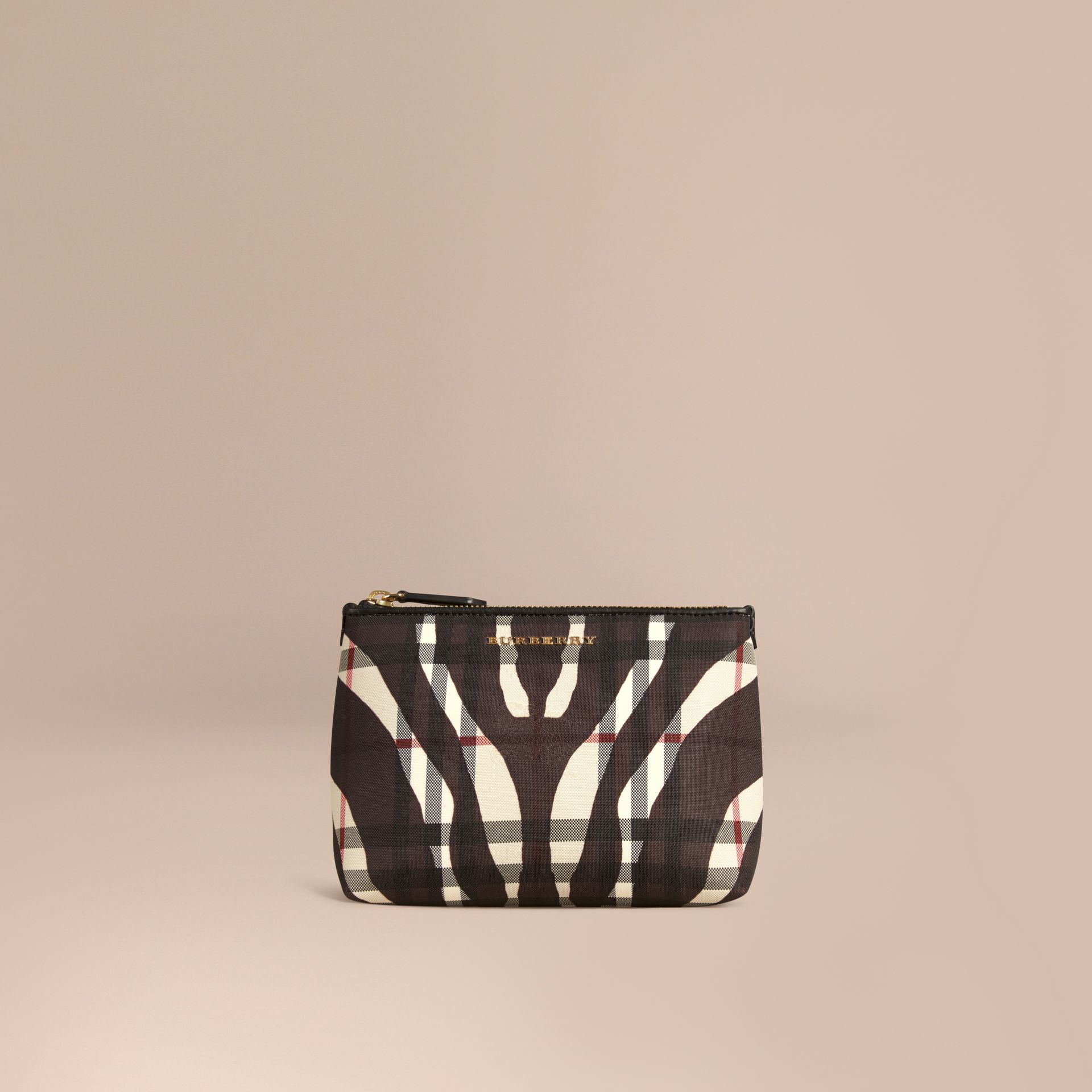 Black Medium Printed Horseferry Check Beauty Pouch - gallery image 1