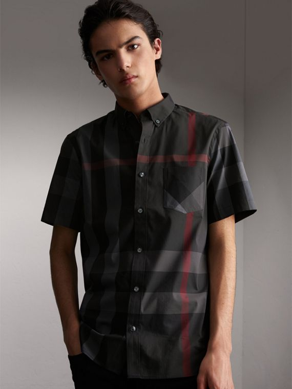 Short-sleeve Check Stretch Cotton Blend Shirt Charcoal