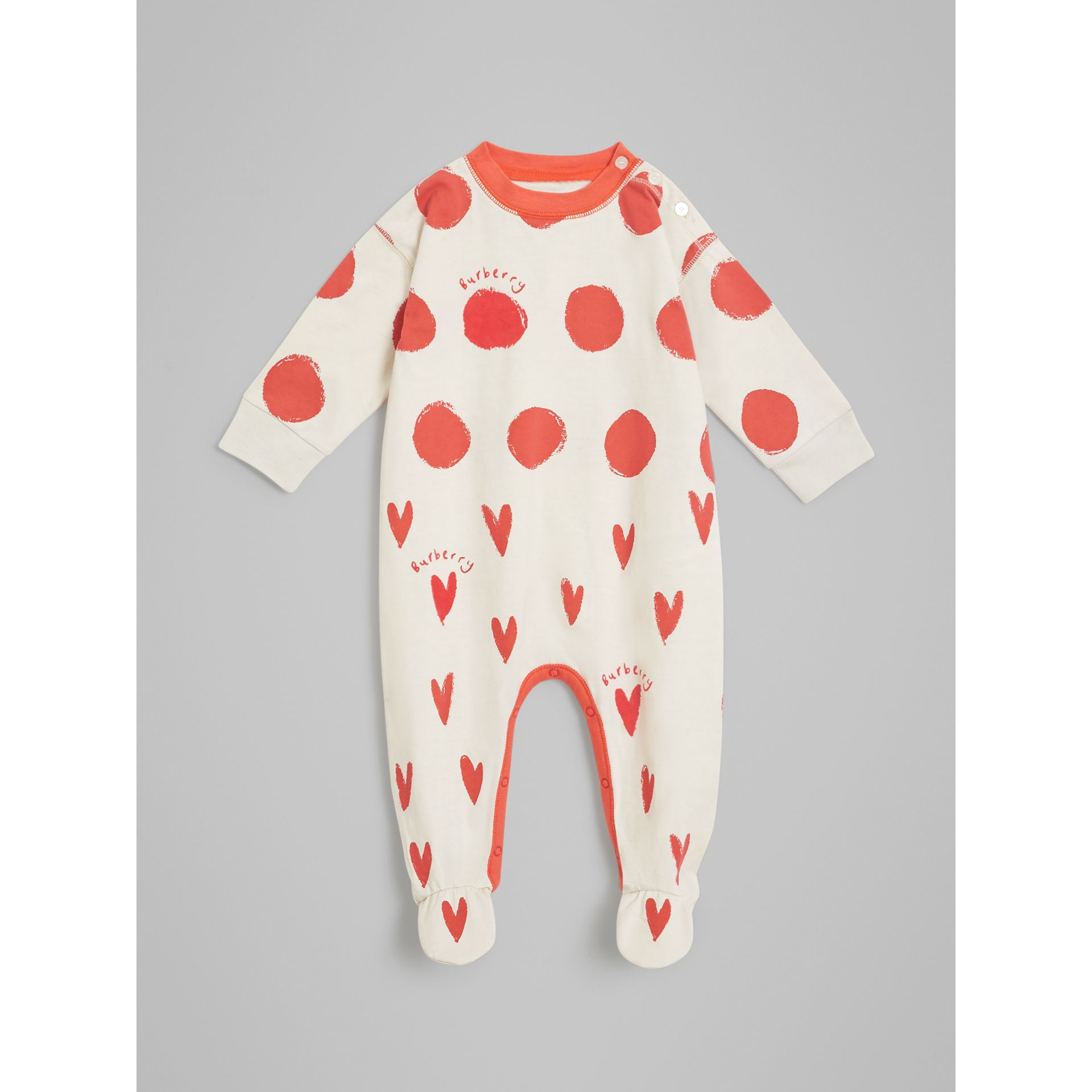 Spot and Heart Print Cotton Two-piece Baby Gift Set in Bright Red - Children | Burberry United States - gallery image 2