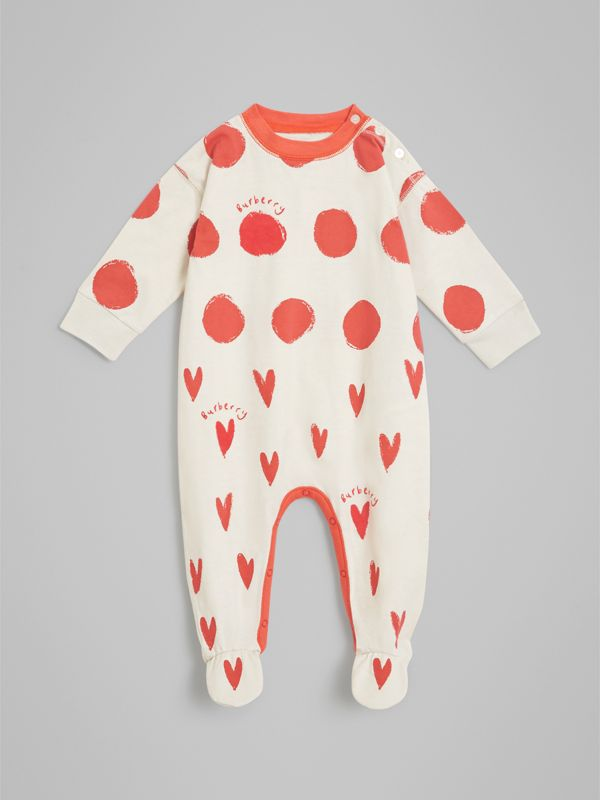 Spot and Heart Print Cotton Two-piece Baby Gift Set in Bright Red - Children | Burberry - cell image 2