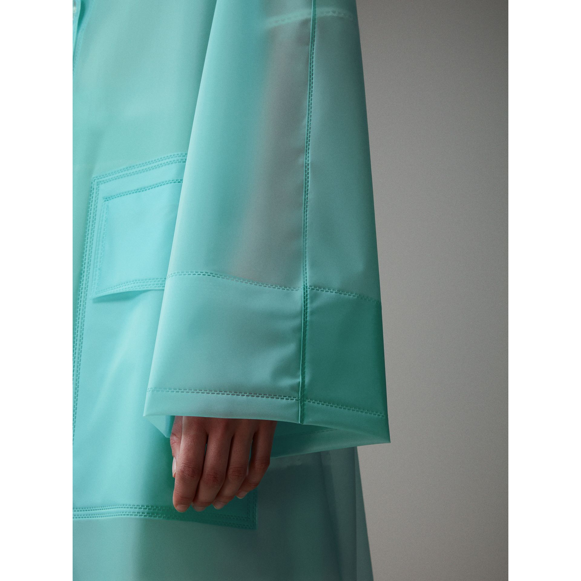 Soft-touch Plastic Car Coat in Turquoise - Women | Burberry Canada - gallery image 4