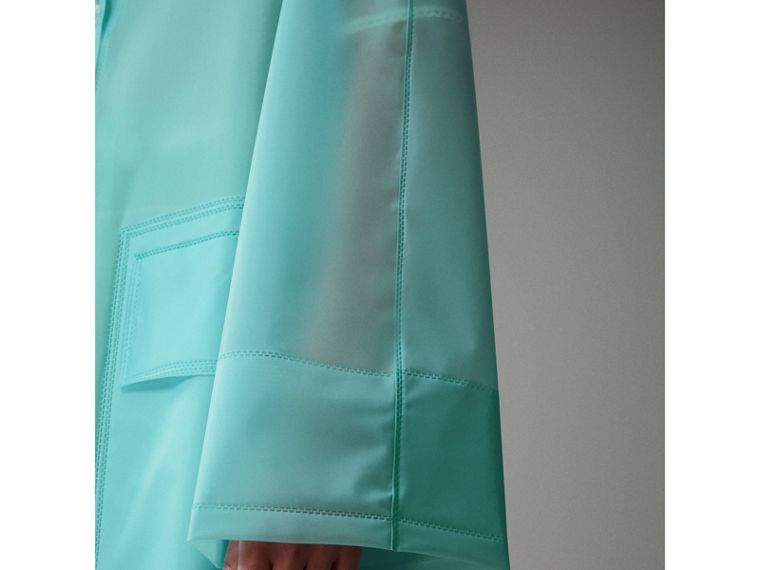 Soft-touch Plastic Car Coat in Turquoise - Women | Burberry - cell image 4