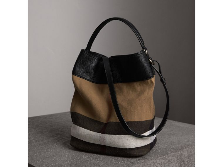 The Medium Ashby in Canvas Check and Leather in Black/black - Women | Burberry - cell image 4