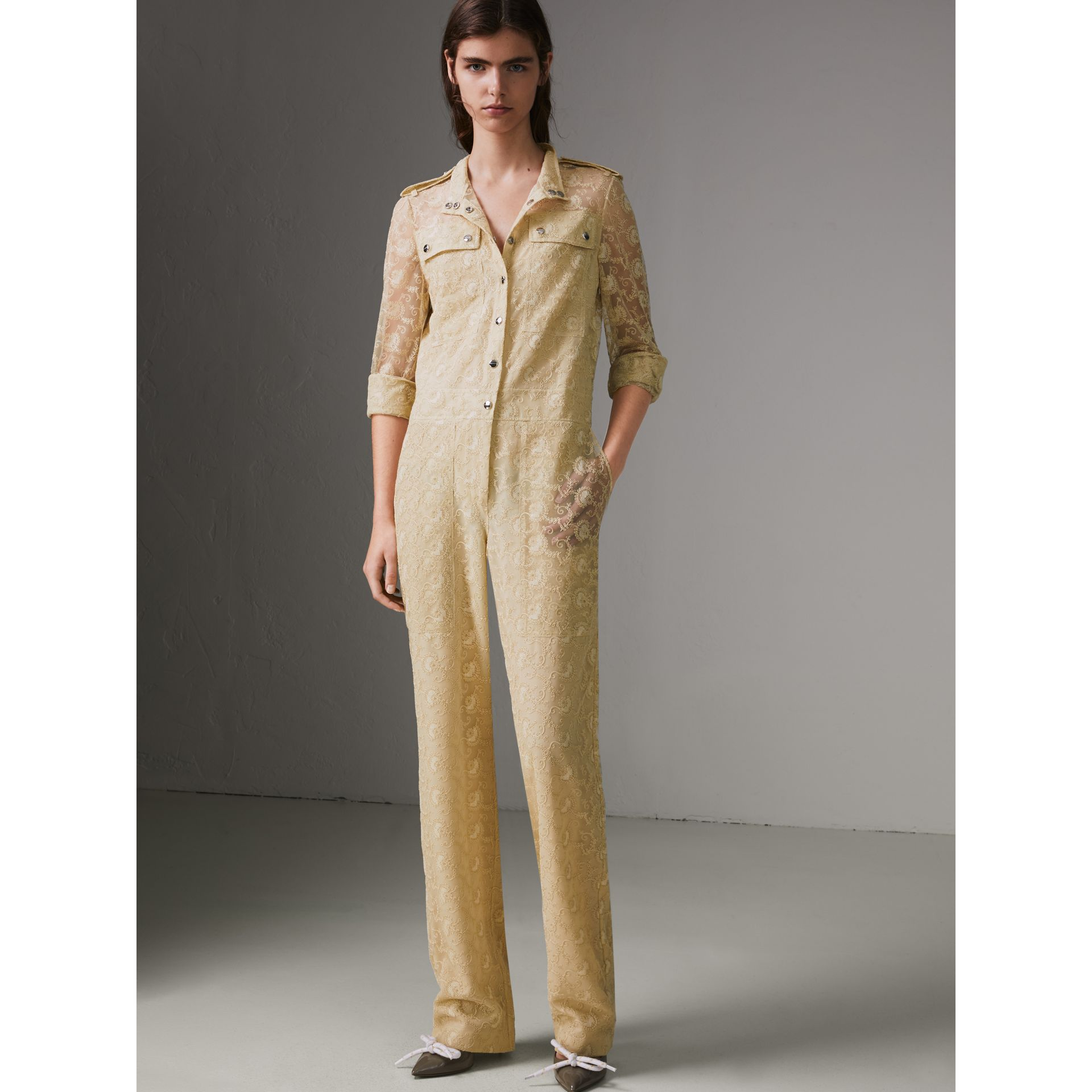 Floral Lace Jumpsuit in Pale Yellow - Women | Burberry - gallery image 3