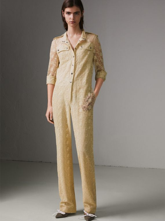 Floral Lace Jumpsuit in Pale Yellow - Women | Burberry - cell image 3