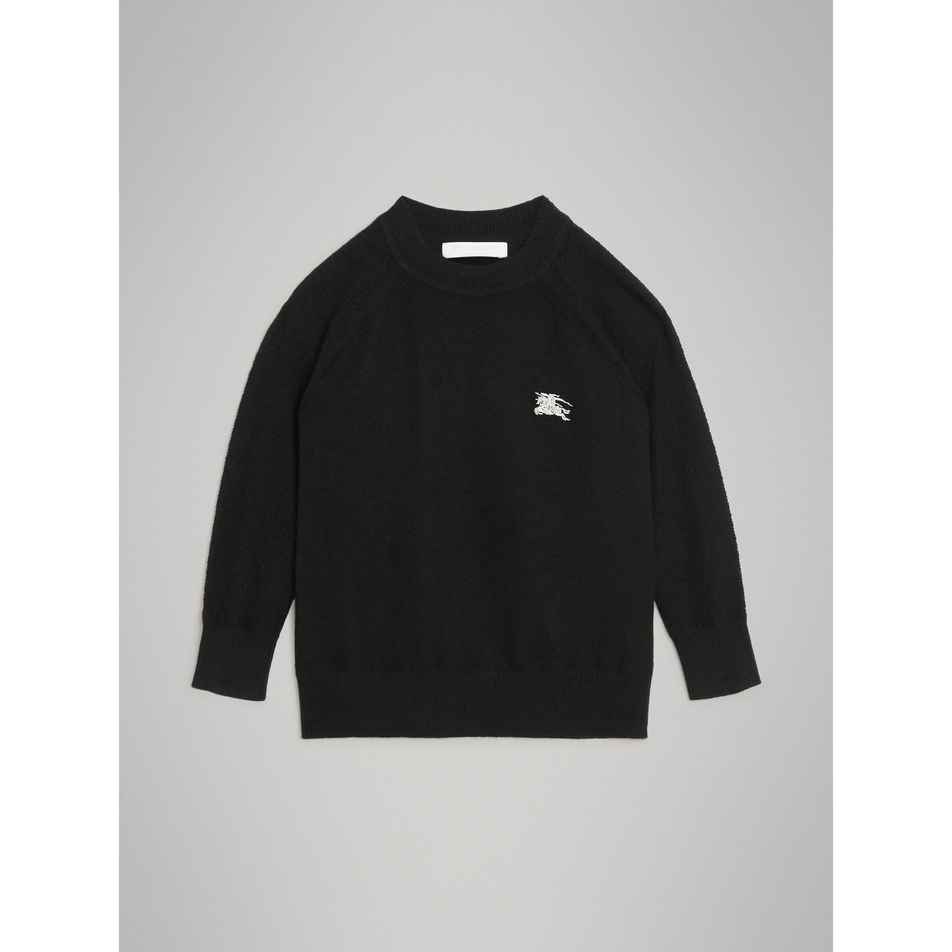 Crew Neck Cashmere Sweater in Black | Burberry - gallery image 0