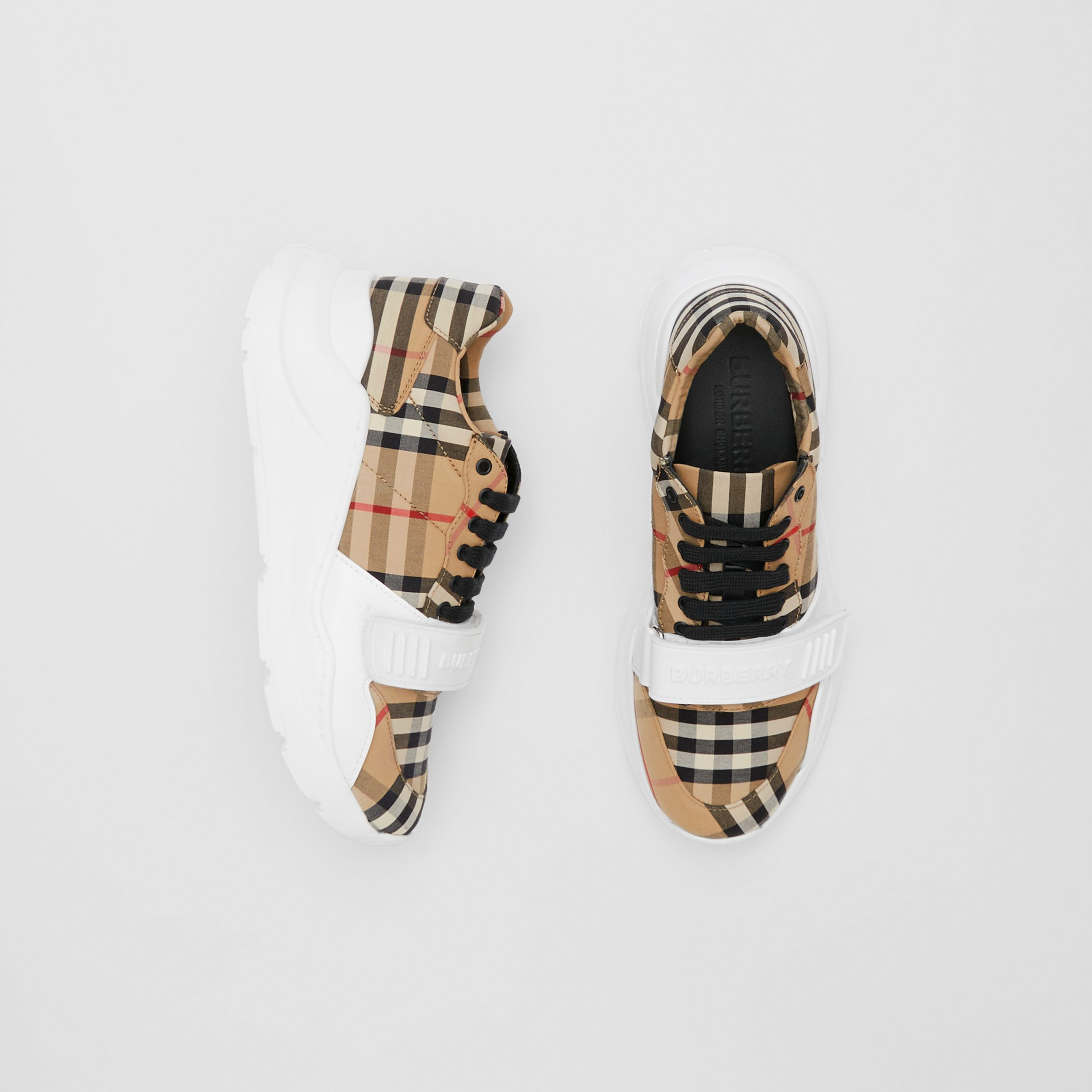 Vintage Check Cotton Sneakers in Archive Beige - Women | Burberry - 1