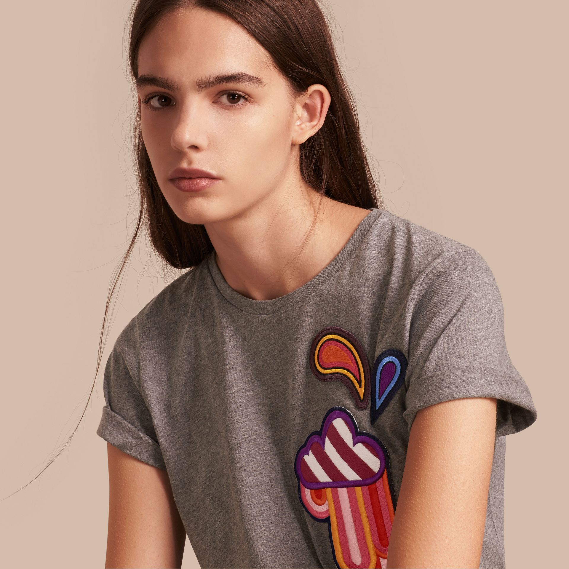 Appliquéd Weather Motif Cotton T-shirt Mid Grey Melange - gallery image 1