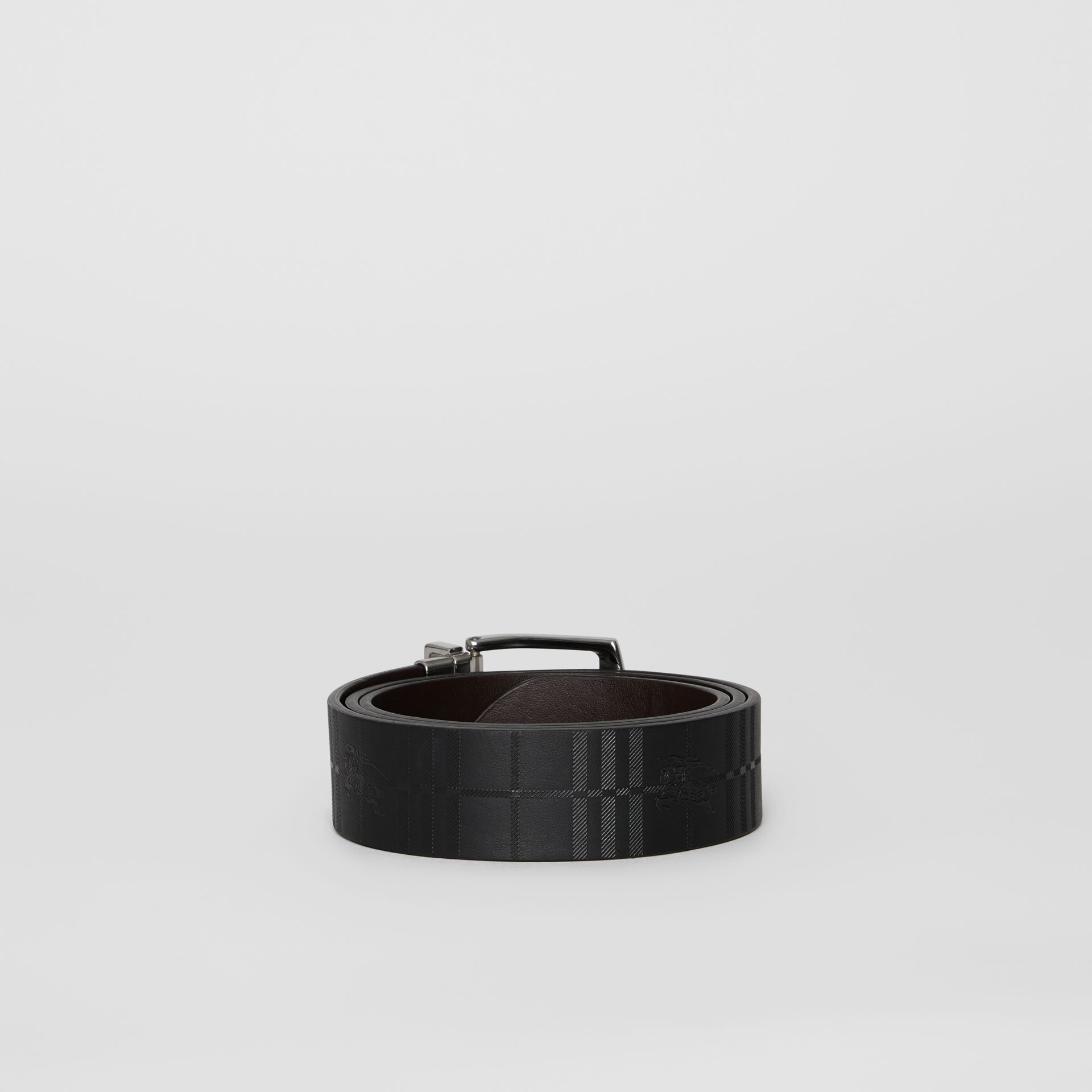 Reversible EKD Check Leather Belt in Chocolate/black - Men | Burberry - gallery image 4
