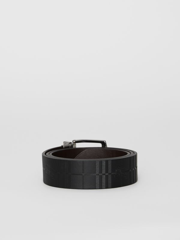 Reversible EKD Check Leather Belt in Chocolate/black - Men | Burberry United Kingdom - cell image 3