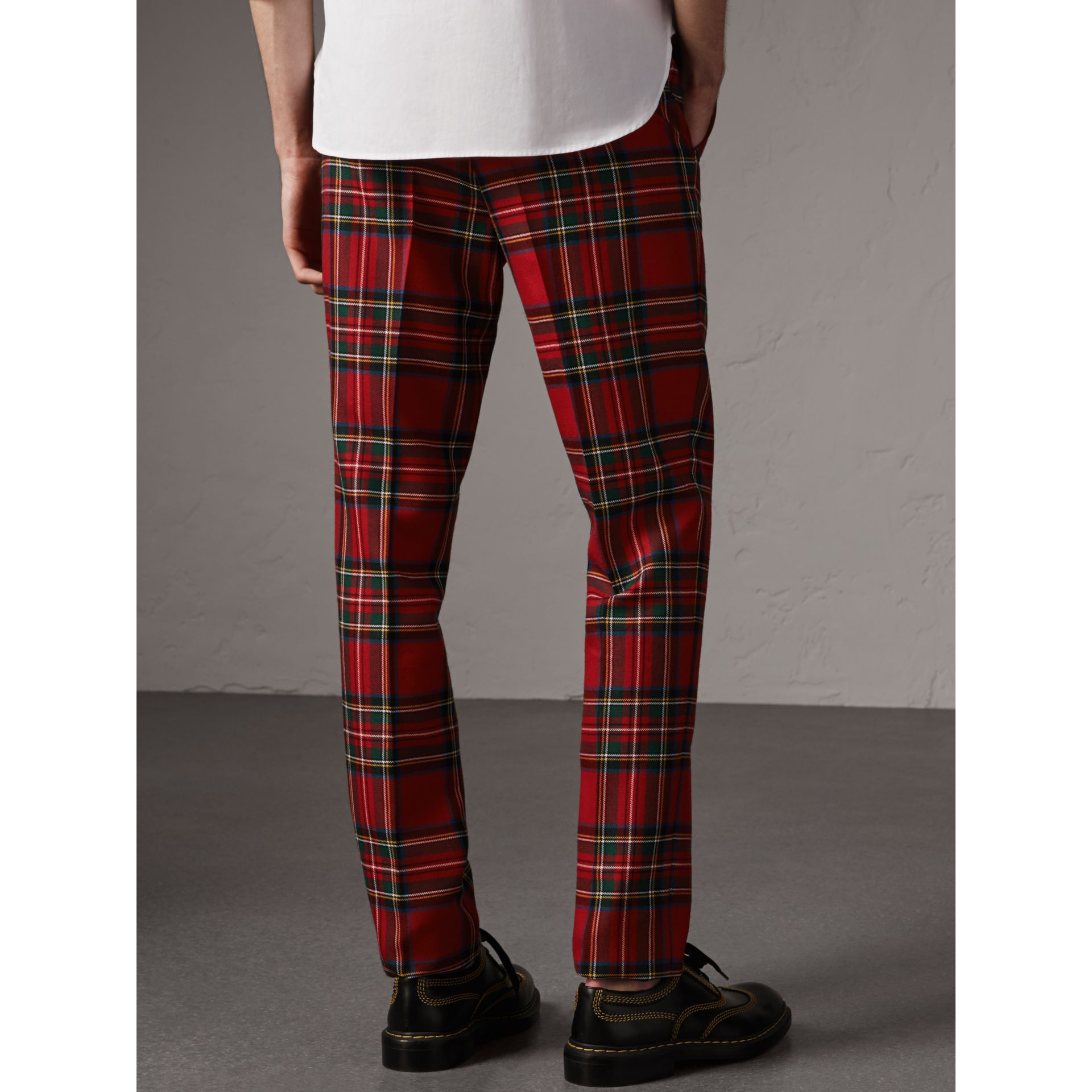 Tartan Wool Tailored Trousers in Bright Red - Men | Burberry - gallery image 2