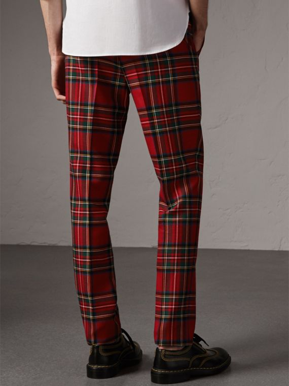 Tartan Wool Tailored Trousers in Bright Red - Men | Burberry - cell image 2