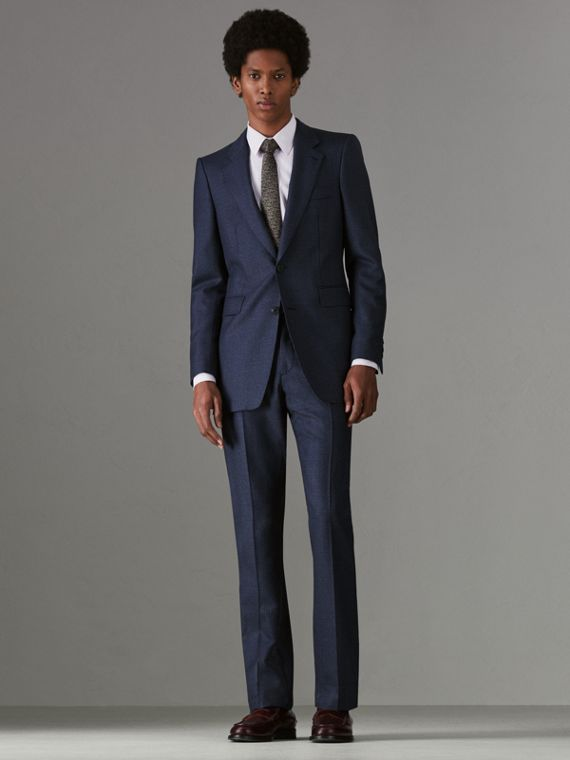 Slim Fit Puppytooth Wool Suit in Navy