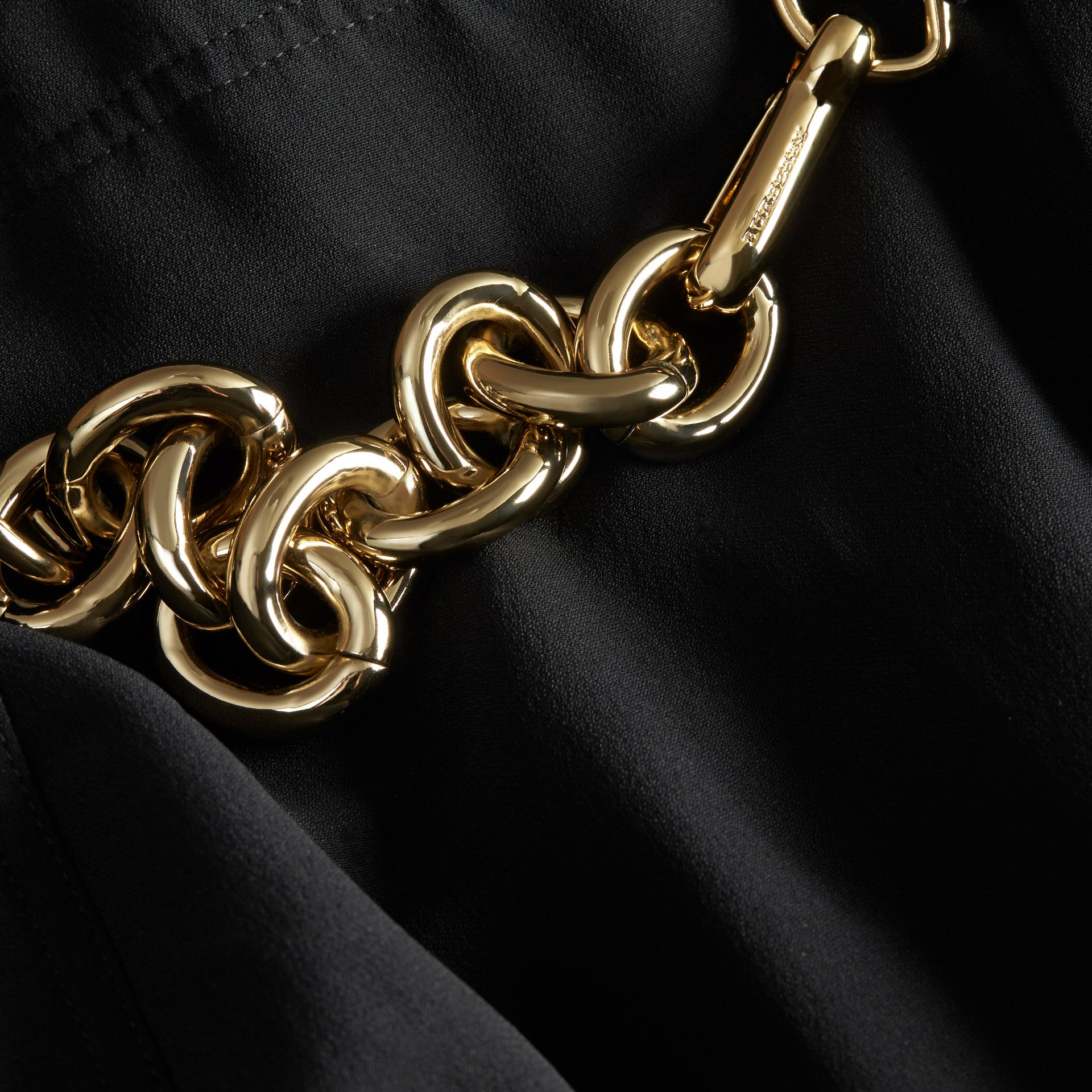 Black Chain Detail Silk Kilt - gallery image 2