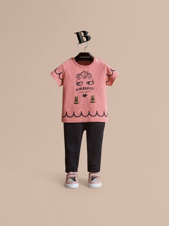 Lady Print Cotton T-shirt in Apricot Pink - Children | Burberry