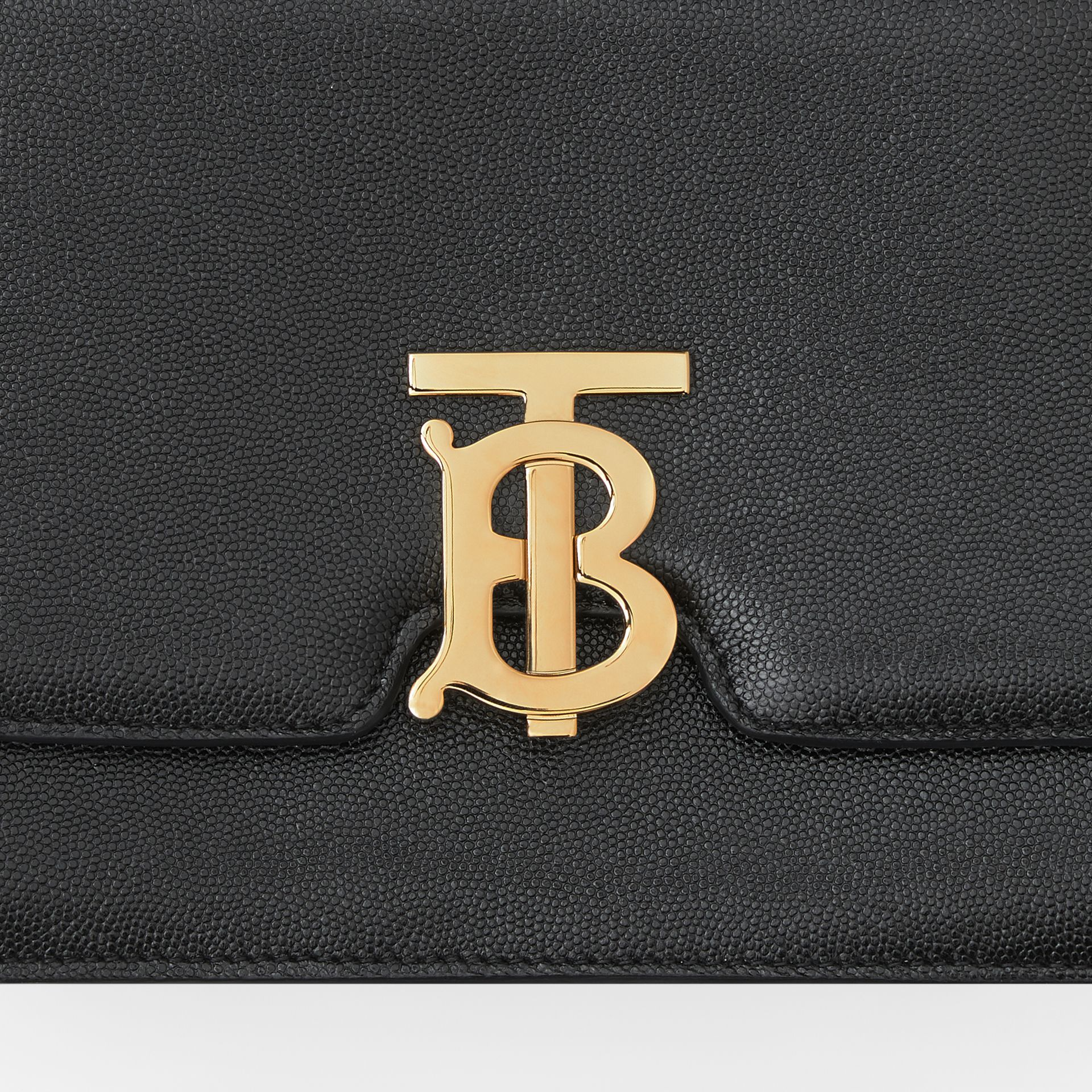 Medium Grainy Leather TB Bag in Black - Women | Burberry Australia - gallery image 1