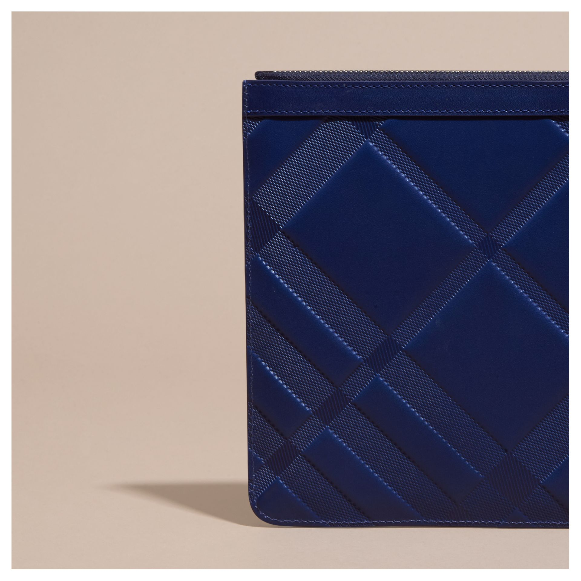 Lapis blue Check-embossed Leather Pouch Lapis Blue - gallery image 4