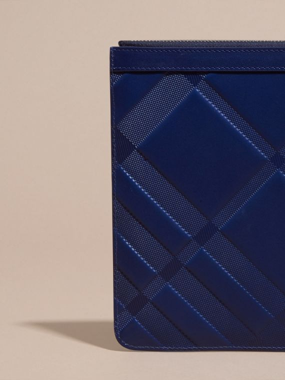 Lapis blue Check-embossed Leather Pouch Lapis Blue - cell image 3