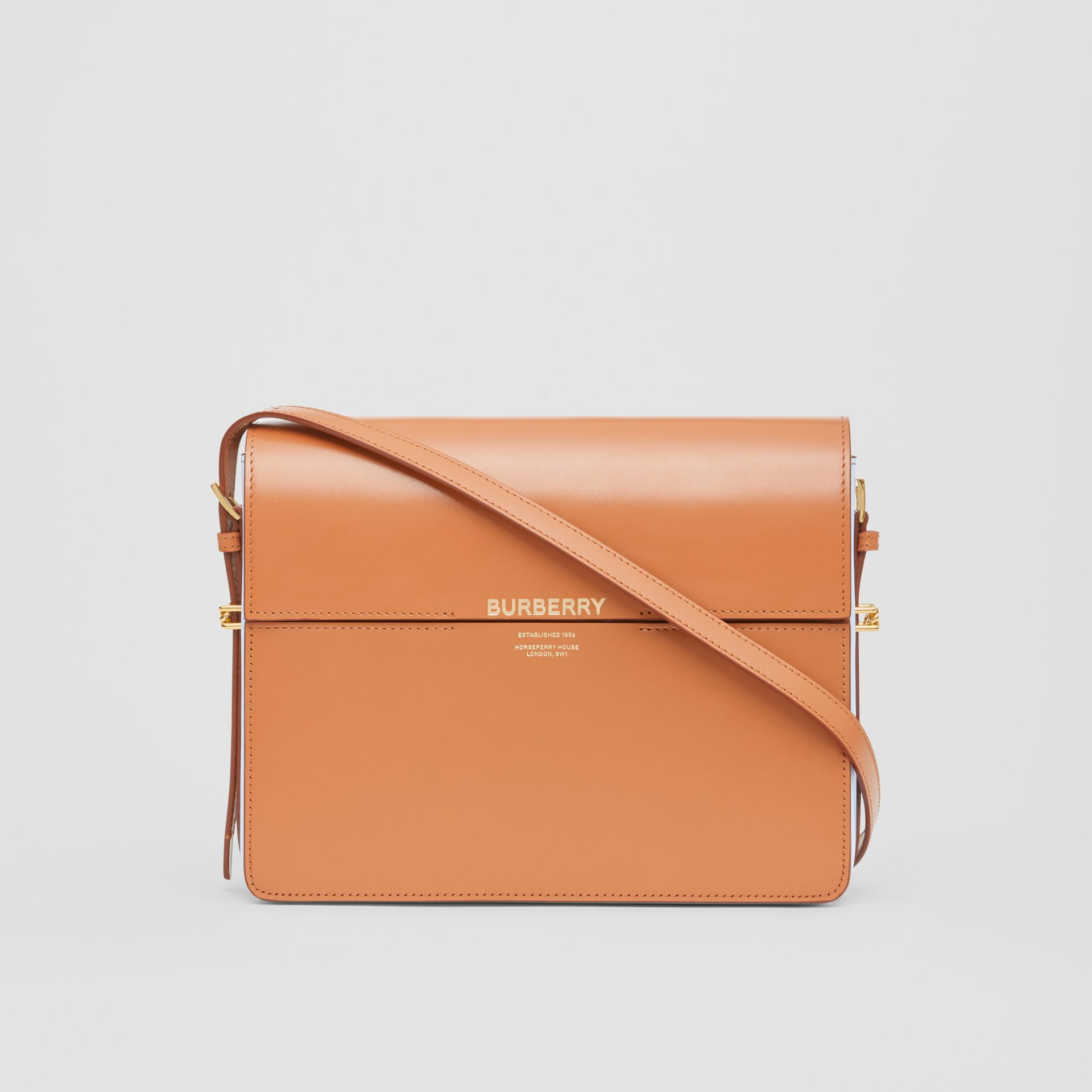 Large Two-tone Leather Grace Bag in Nutmeg/pale Blue - Women | Burberry United Kingdom - gallery image 0