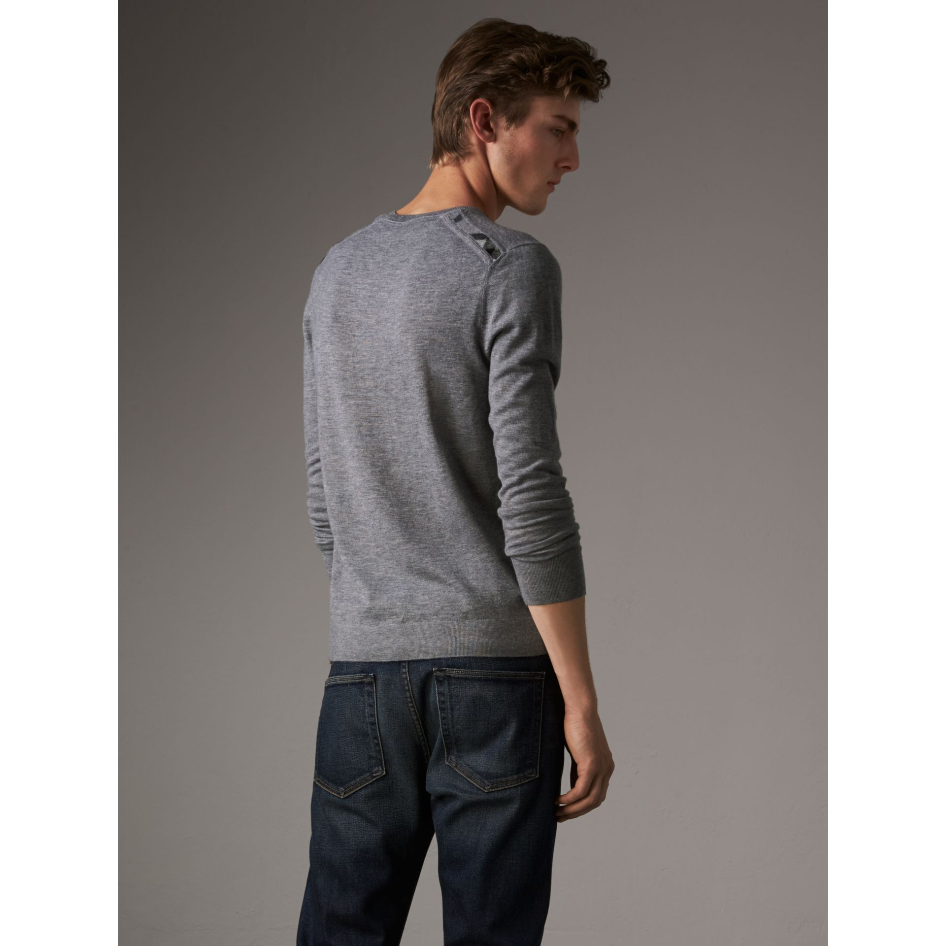 Lightweight Crew Neck Cashmere Sweater with Check Trim in Pale Grey Melange - Men | Burberry Australia - gallery image 3