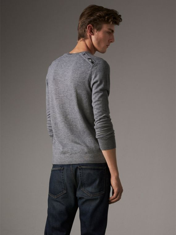 Lightweight Crew Neck Cashmere Sweater with Check Trim in Pale Grey Melange - Men | Burberry - cell image 2