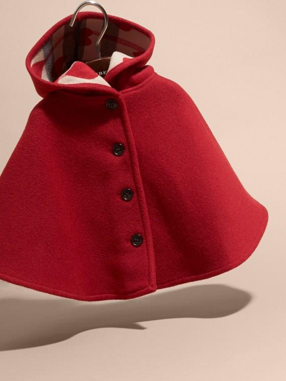 Rosso windsor Mantella svasata in lana con cappuccio Rosso Windsor - cell image 2