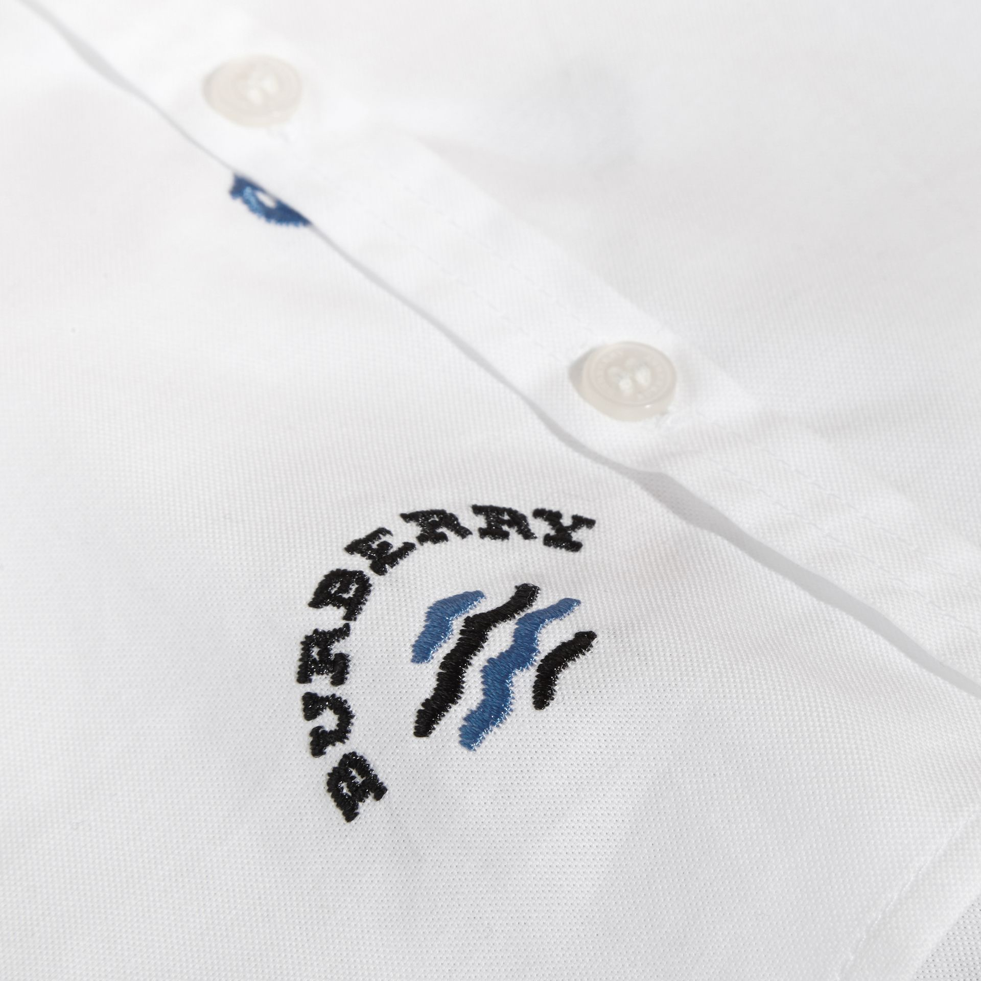 Embroidered Nautical Motif Cotton Oxford Shirt in White | Burberry - gallery image 2