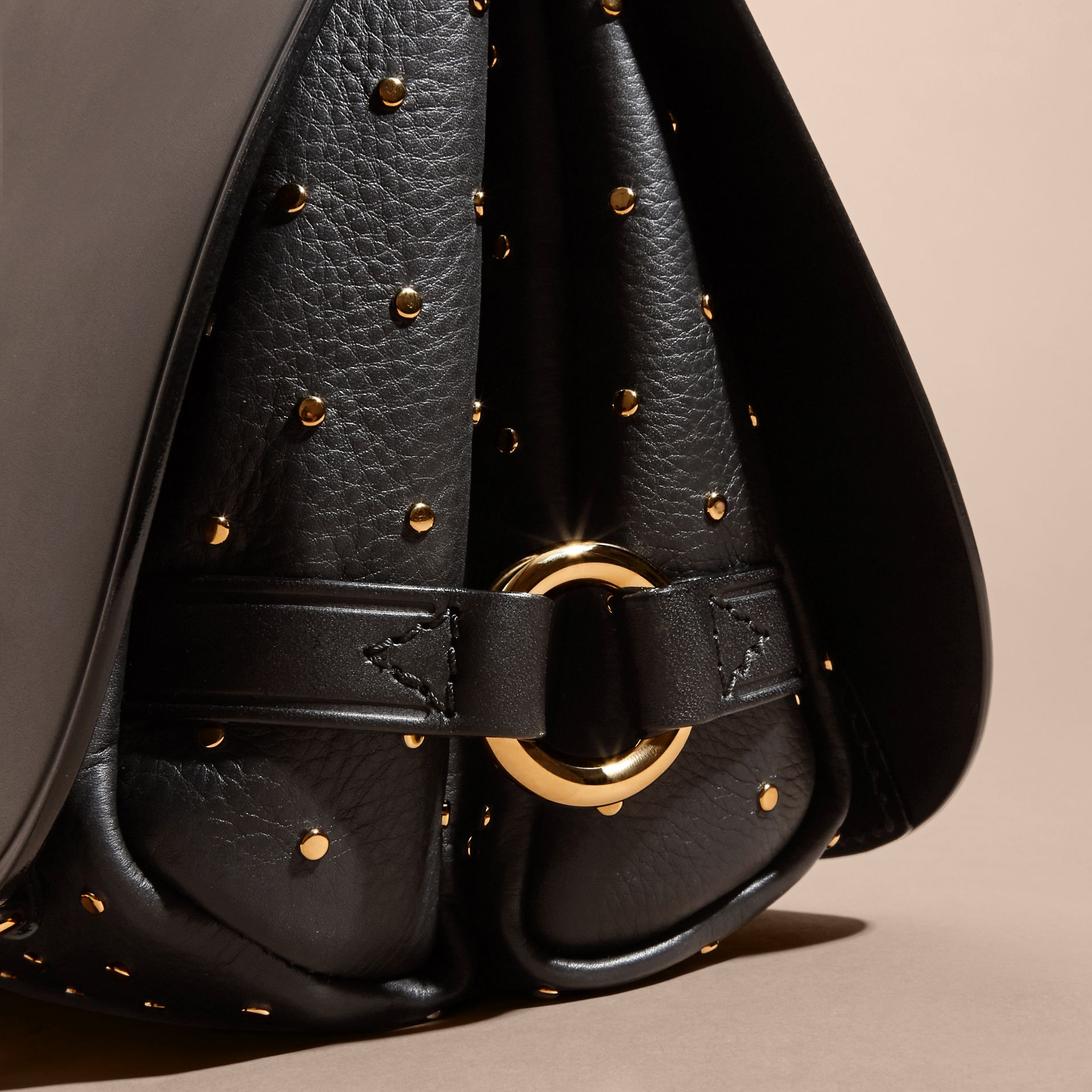 The Bridle Bag in Leather and Rivets in Black - gallery image 7