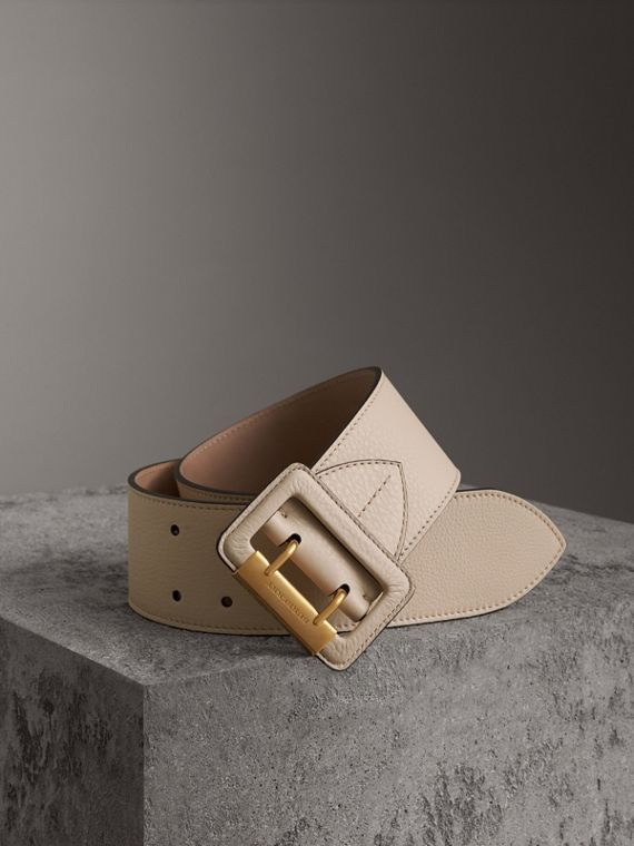 Double Pin Buckle Leather Belt in Limestone