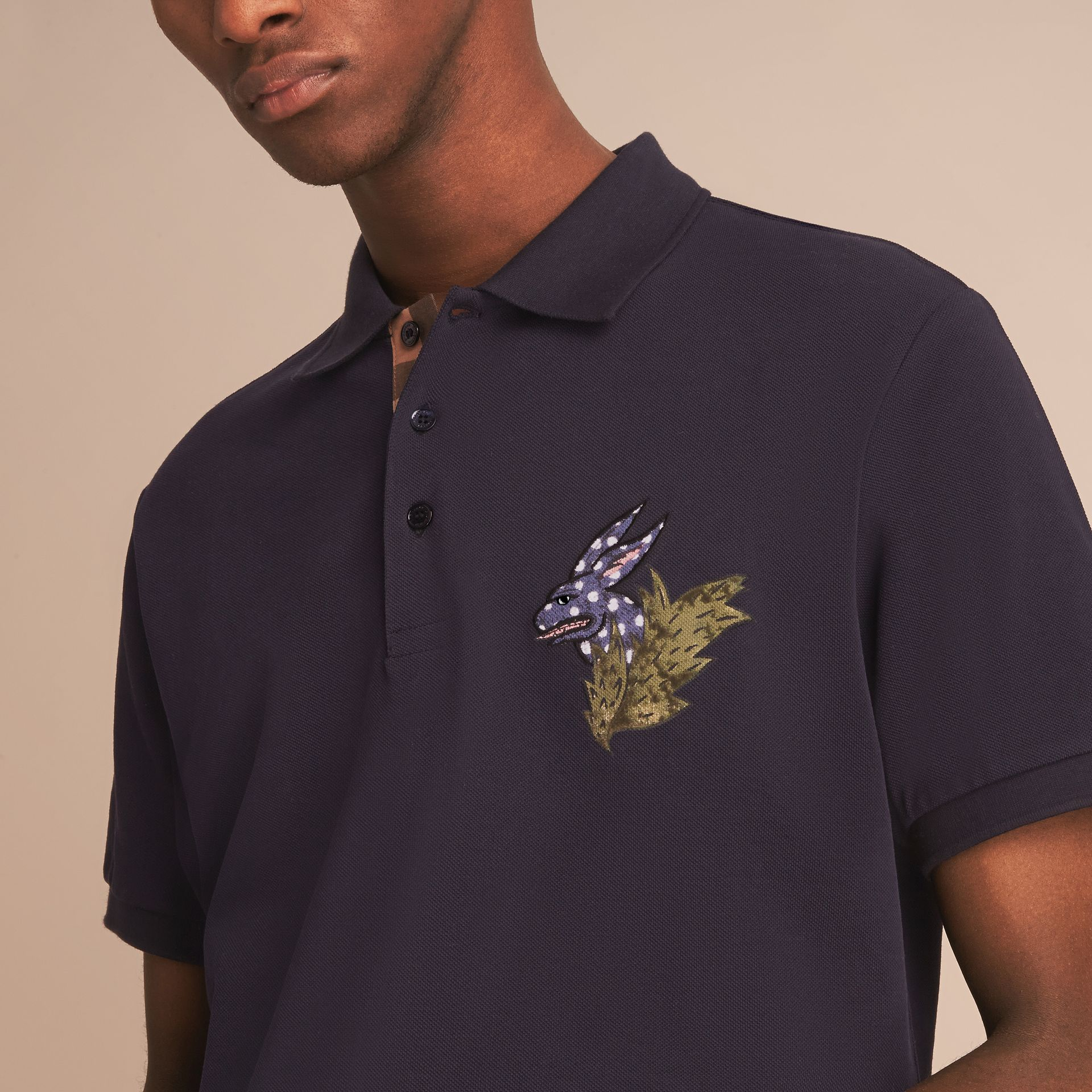 Beasts Motif Cotton Piqué Polo Shirt in Dark Navy - Men | Burberry - gallery image 5