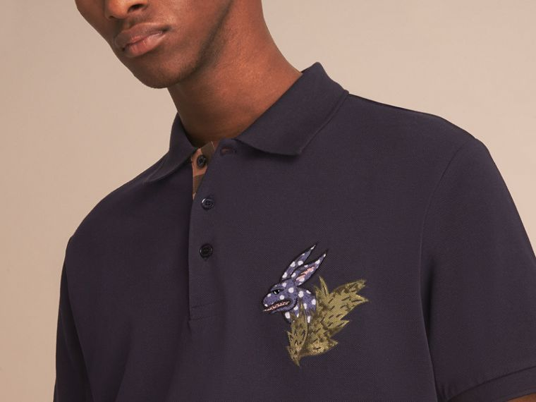Beasts Motif Cotton Piqué Polo Shirt in Dark Navy - Men | Burberry - cell image 4