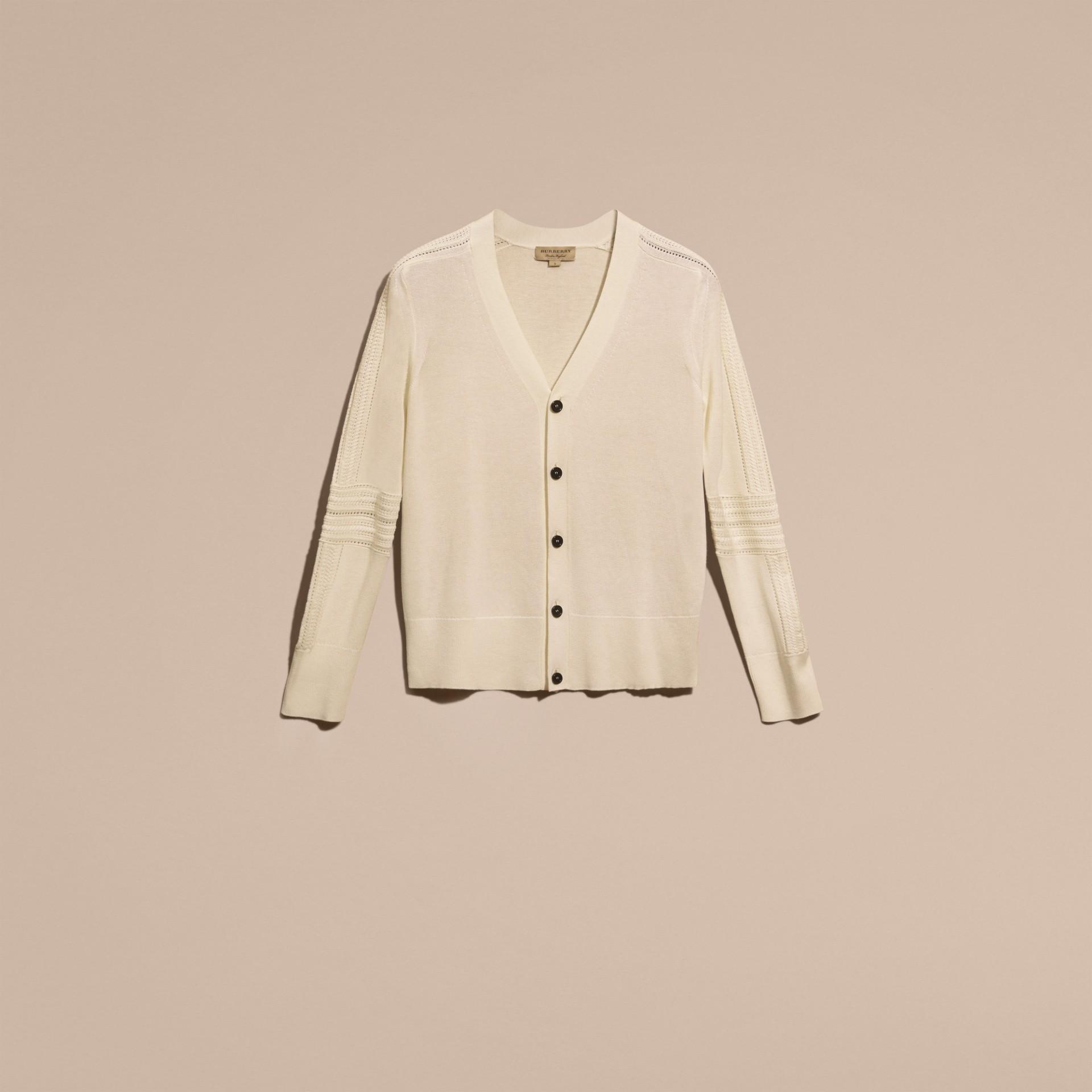 Blanc naturel Cardigan en laine et soie avec garnitures ajourées Blanc Naturel - photo de la galerie 4