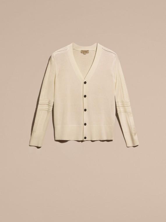 Blanc naturel Cardigan en laine et soie avec garnitures ajourées Blanc Naturel - cell image 3